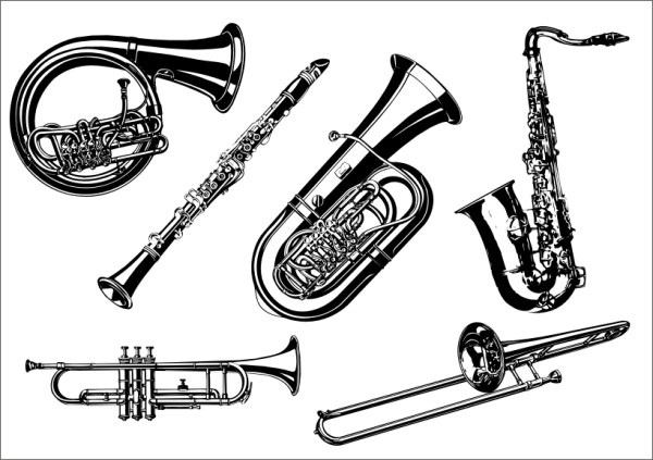 Musical instruments the class Free CDR Vectors Art