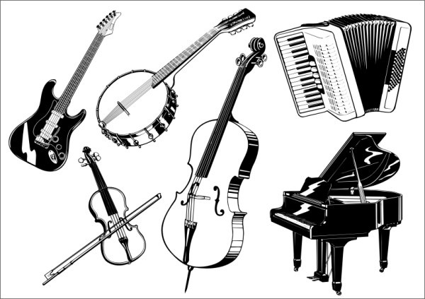 Musical instrument the class Free CDR Vectors Art