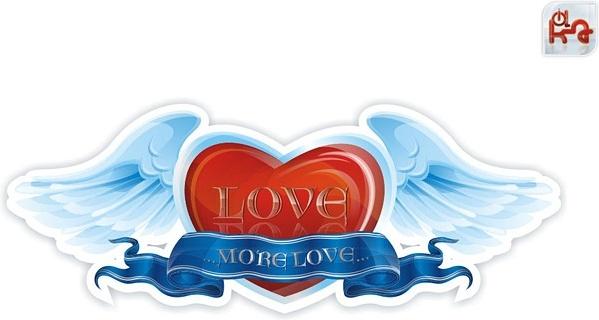 Heartshaped wings ribbon Free CDR Vectors Art