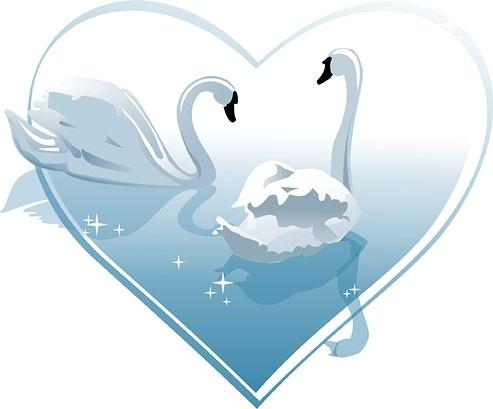 Heartshaped white swan Free CDR Vectors Art