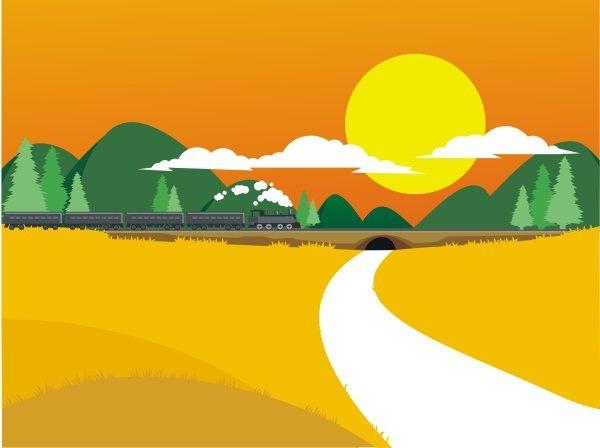 Countryside railway landscape theme Free CDR Vectors Art