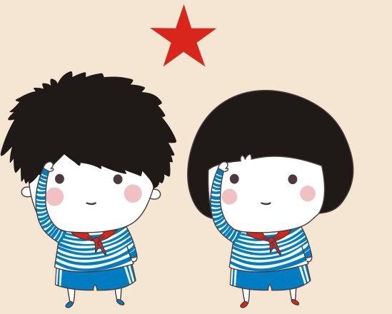 Cartoon young pioneers Free CDR Vectors Art