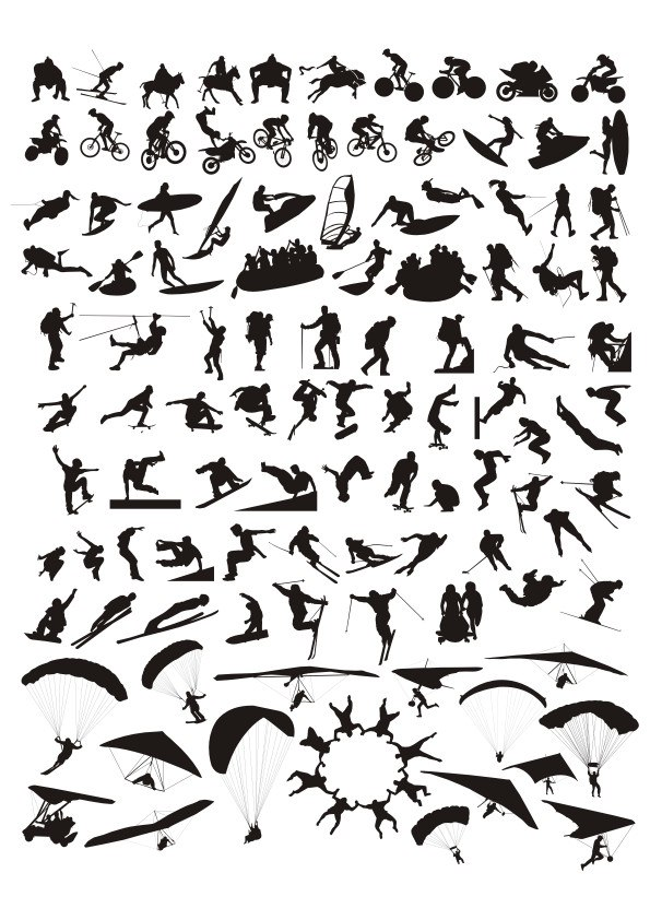 Sports Silhouette Set Free CDR Vectors Art