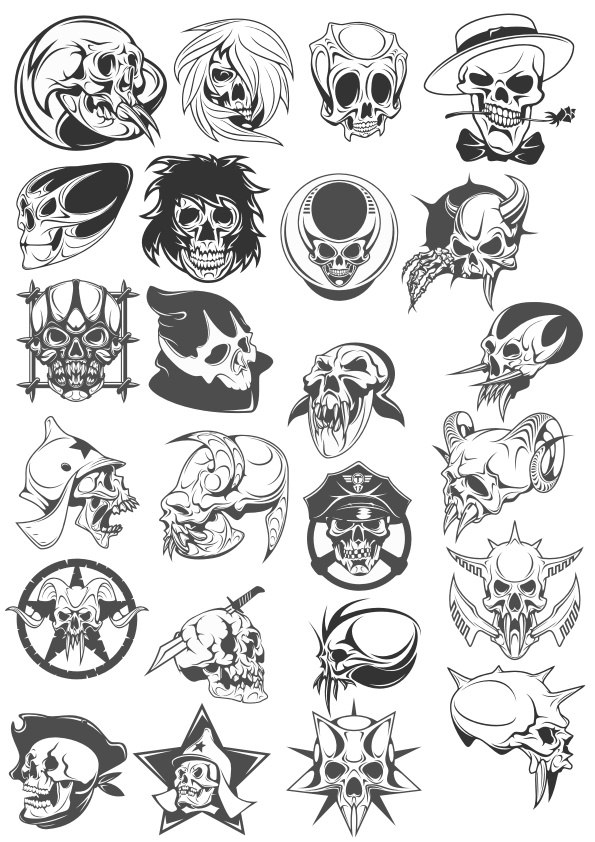 Skull Tattoo Pack Free CDR Vectors Art