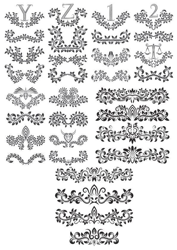 Linear Border Ornaments Seamless Pattern Set Free CDR Vectors Art