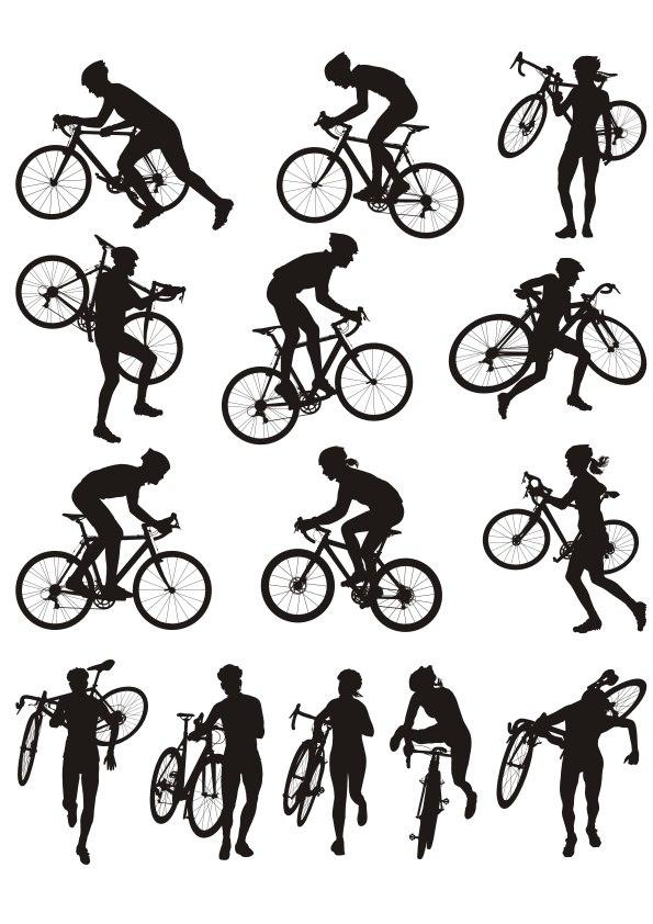 Cyclocross Racing Silhouette Free CDR Vectors Art