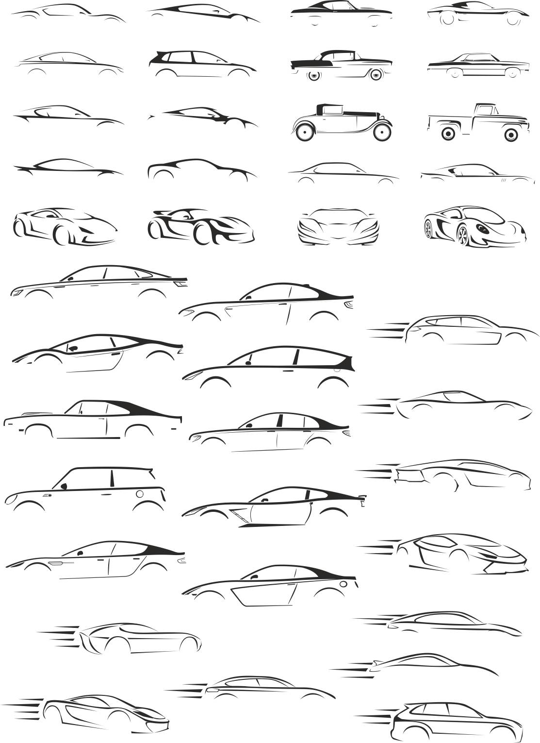 Cars Silhouettes Collection Free CDR Vectors Art