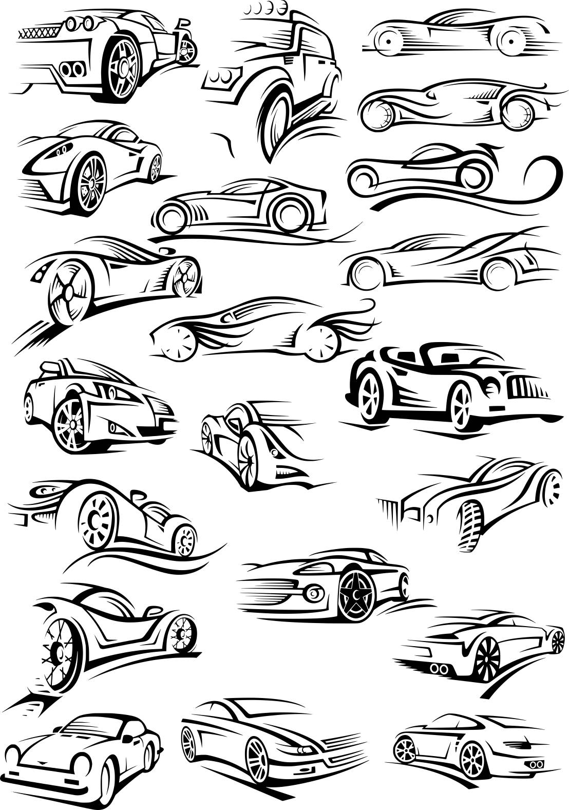 Cars Silhouette Stickers Free CDR Vectors Art