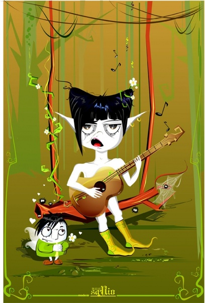 Playing guitar monster Free CDR Vectors Art