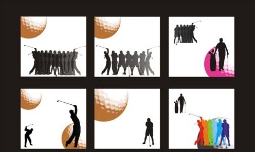 Golf figure silhouettes Free CDR Vectors Art