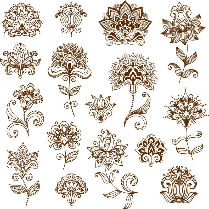 Collection of mehndi style ornaments Free CDR Vectors Art