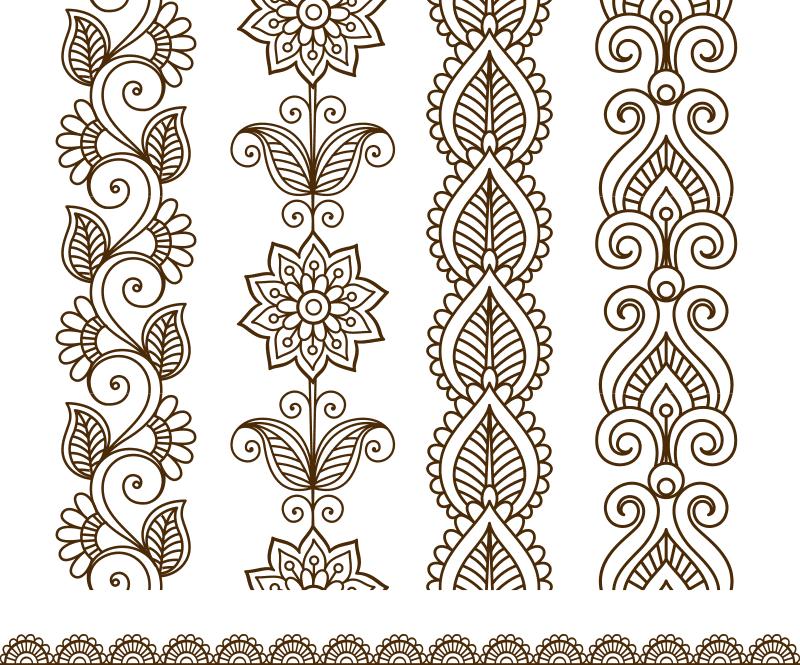 Border elements in Indian mehndi style Free CDR Vectors Art