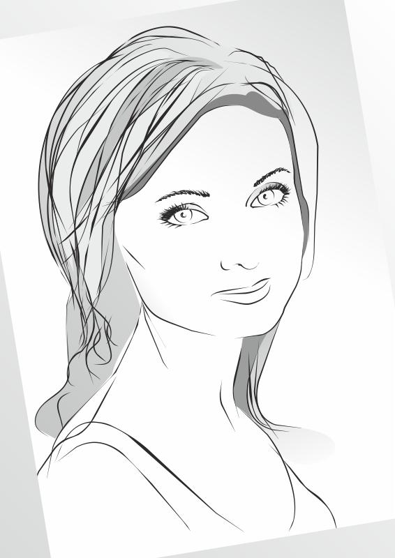 Girl in Sketch Lines Free CDR Vectors Art