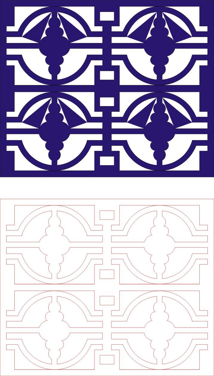 Laser Cut Seamless Panel Design-135 Free CDR Vectors Art