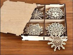 Box With Snowflakes File Download For Laser Cut Free CDR Vectors Art
