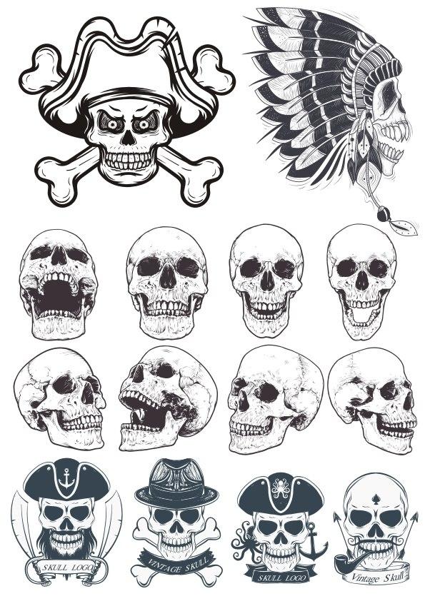 Dotwork Skulls Art File Free CDR Vectors Art