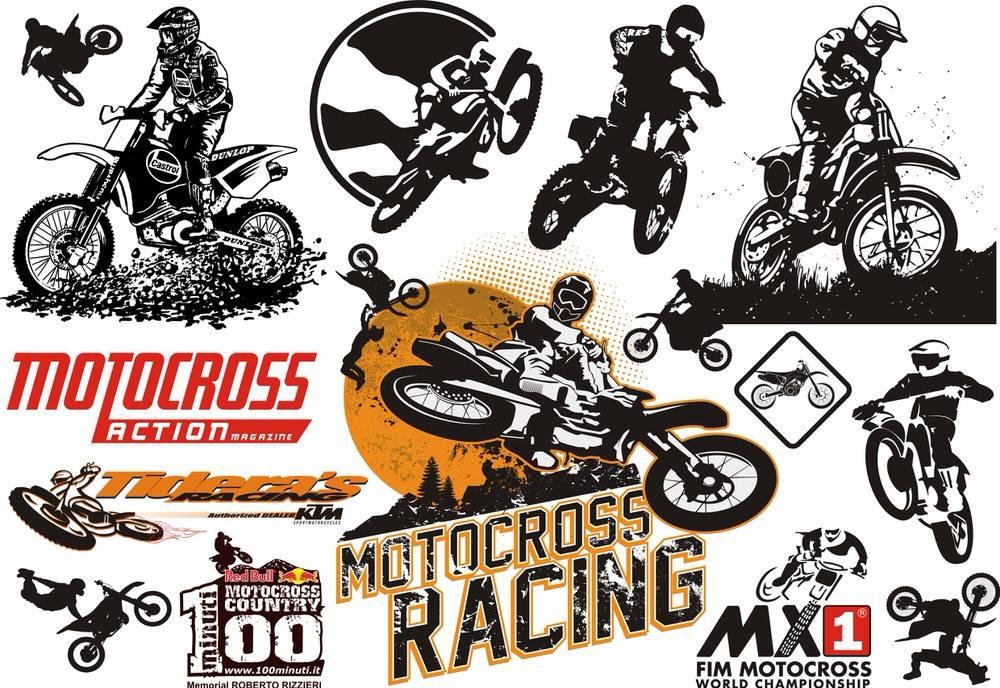 Motocross Set File Free CDR Vectors Art