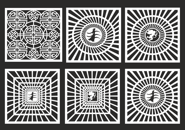 Set Of Geometric Square Jali Design File Free CDR Vectors Art