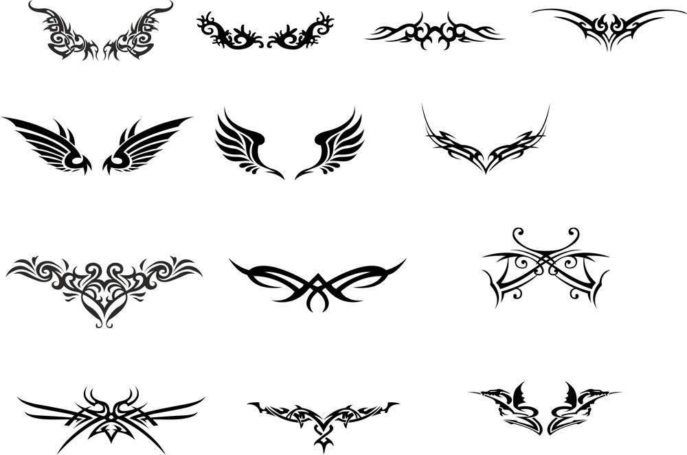 Tattoo Totem Wings Set File Free CDR Vectors Art