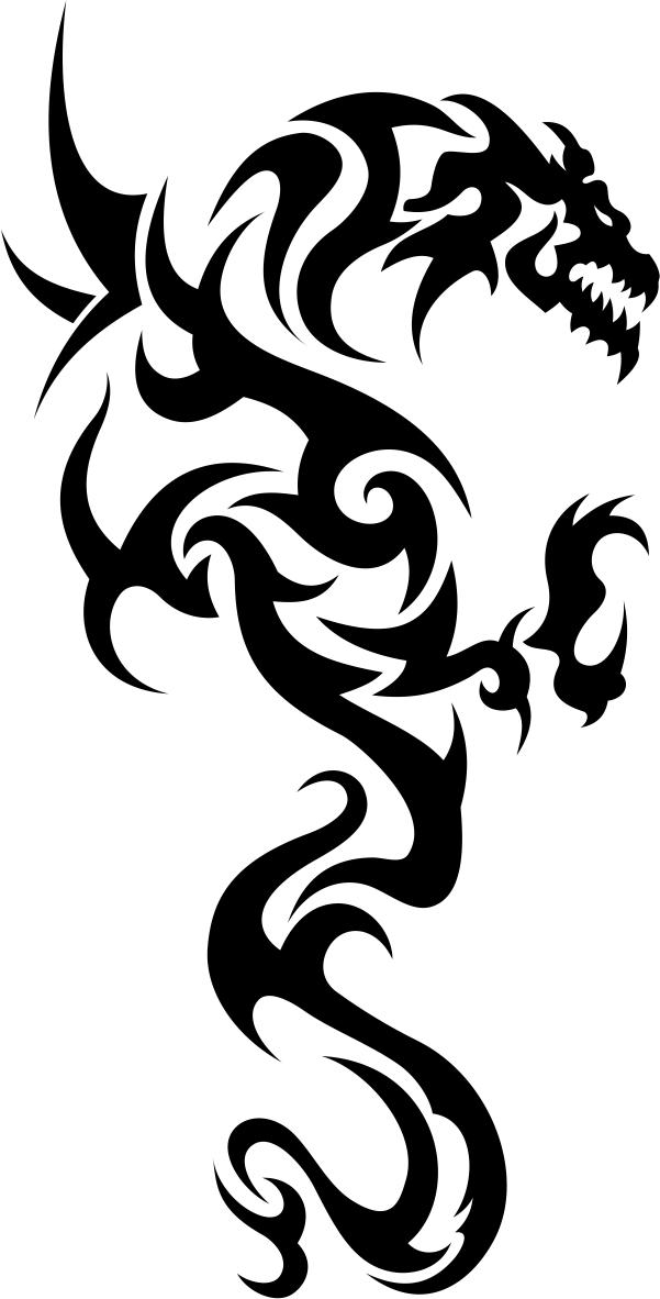 Tribal Dragon Tattoo File Free CDR Vectors Art