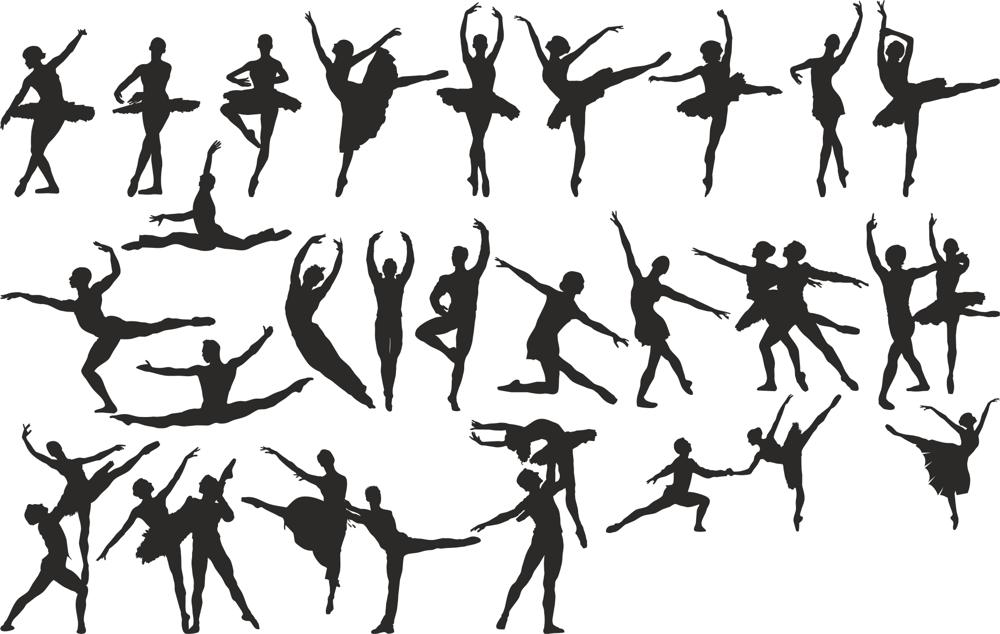 Ballet Dancer Silhouette Set File Free CDR Vectors Art