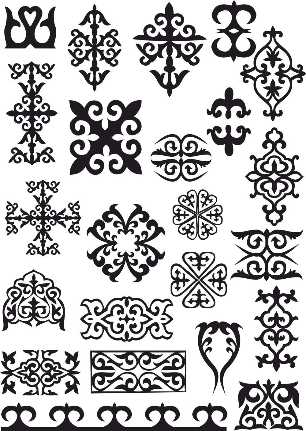 Kazakh Ornaments Patterns File Free CDR Vectors Art