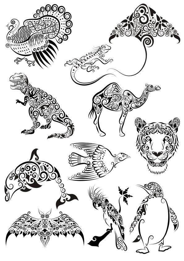 Ornament Animals Tattoo Pack File Free CDR Vectors Art