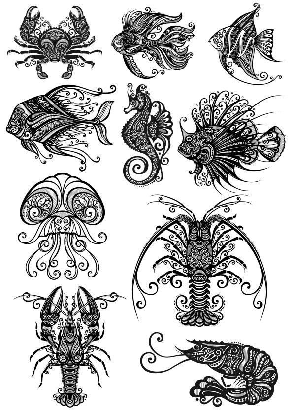 Ornament Sea Amimals Art Pack File Free CDR Vectors Art