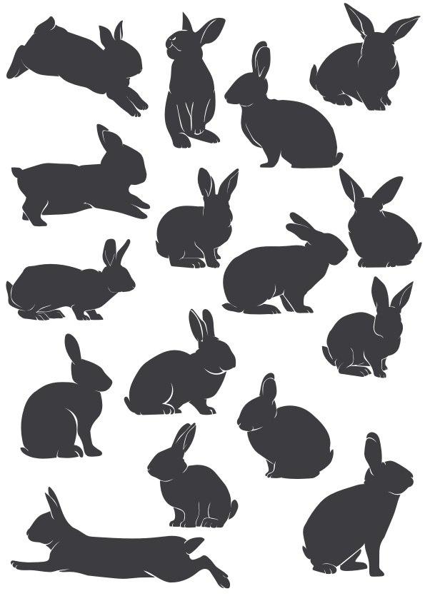 Rabbit Silhouette File Free CDR Vectors Art