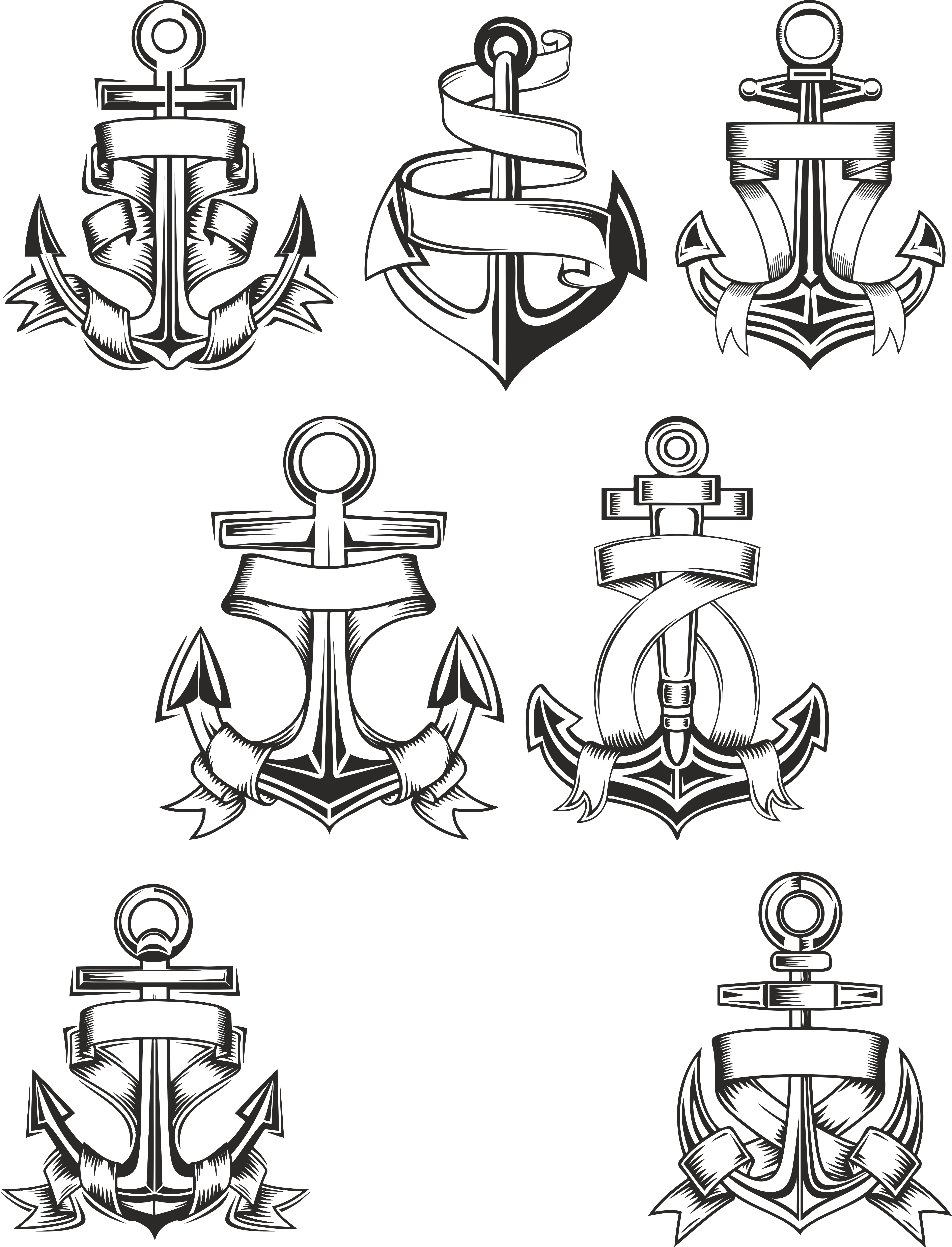 Collection Of Anchors Download Free DXF File