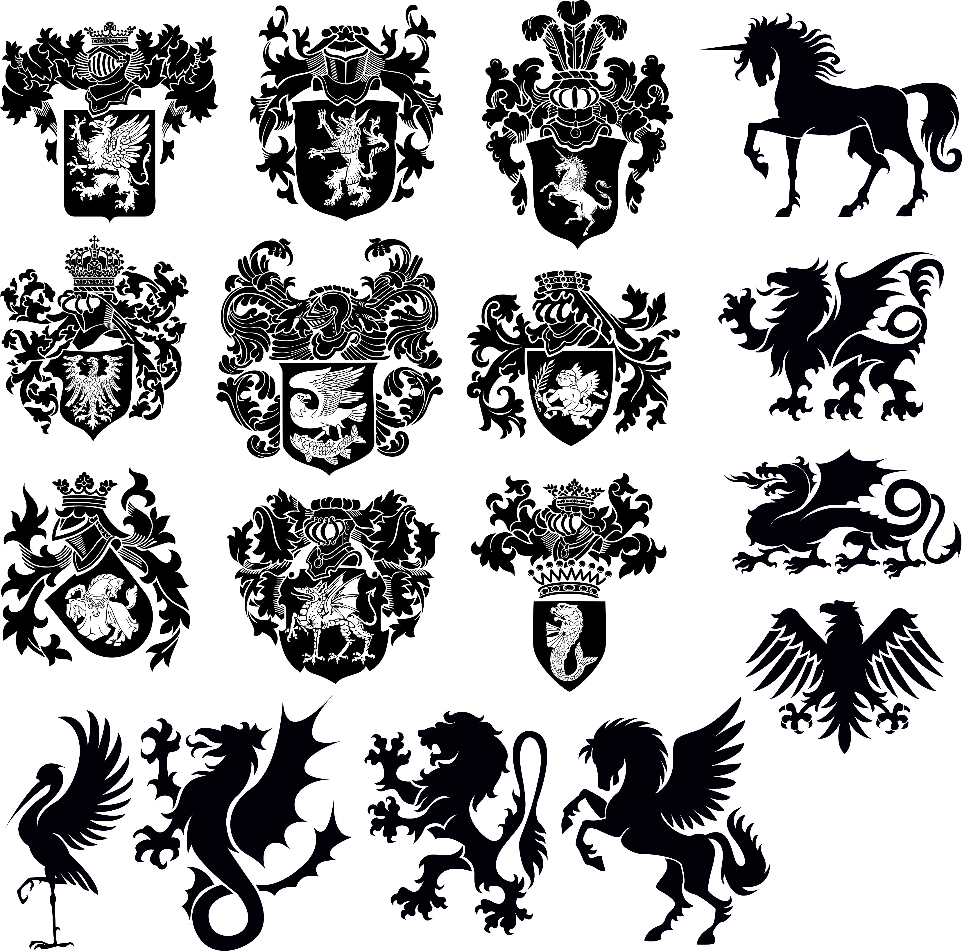Heraldry Download Collection No 5 Clipart Free DXF File