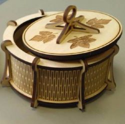 Round Wooden Box Download For Laser Cut Free DXF File