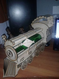 Train Wine Box Download For Laser Cut Free DXF File