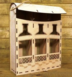 three-chamber Wine Box File Download For Laser Cut Free DXF File