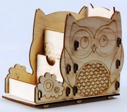 3d Owl Pen Box Download For Laser Cut Plasma Decal Free DXF File