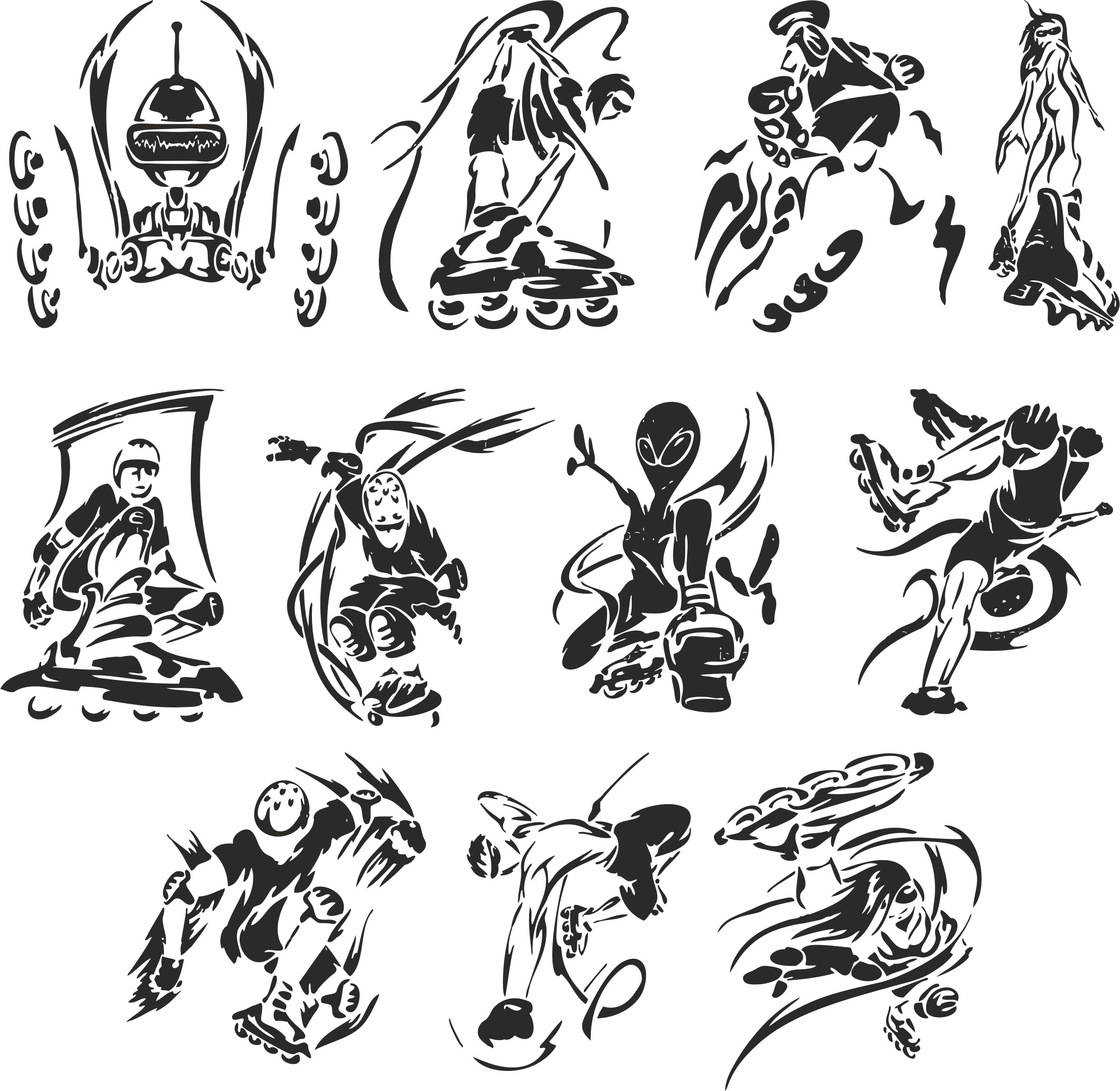 Collection Of Roller Sketches Free DXF File