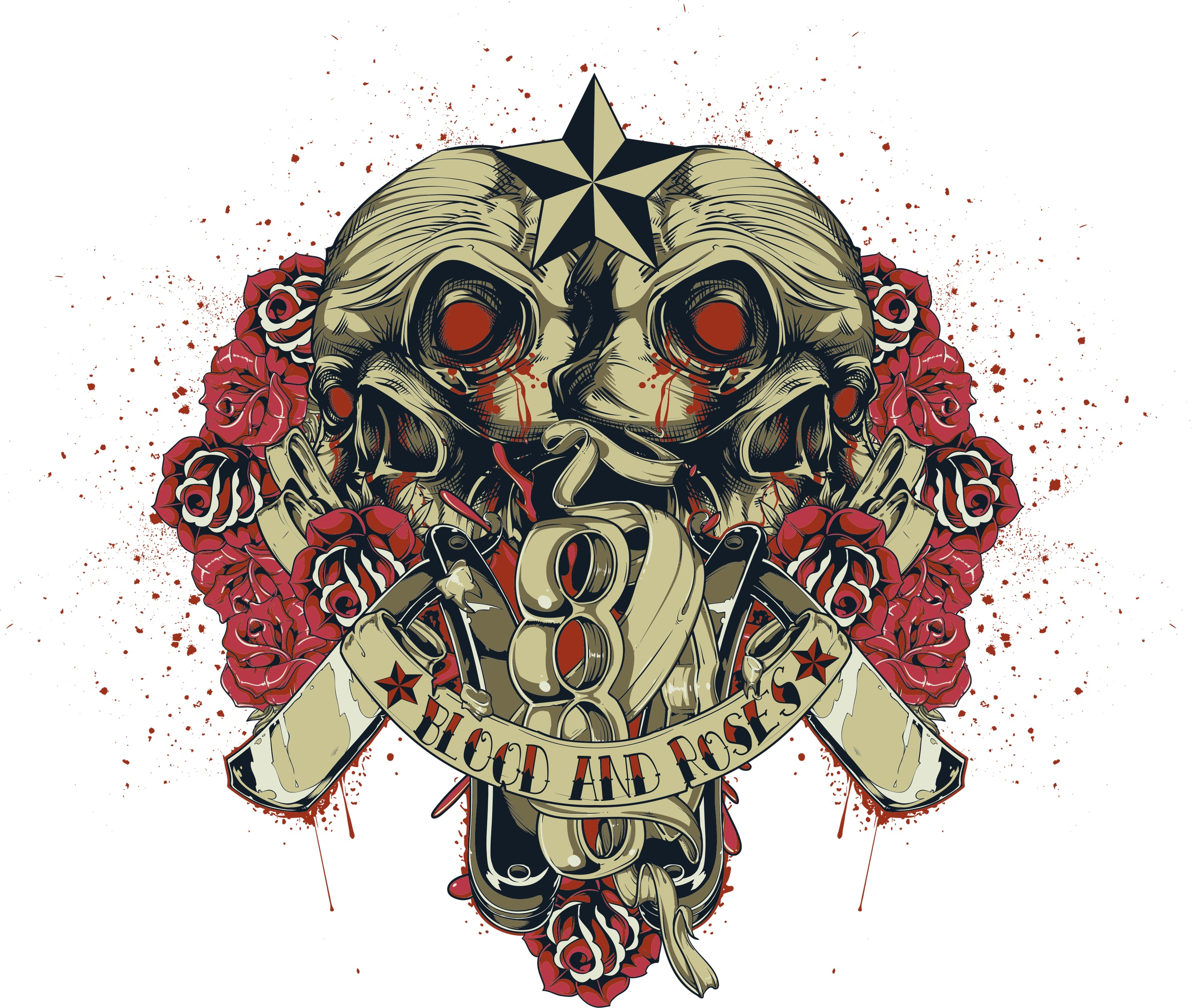 Blood And Roses Print File Free CDR Vectors Art