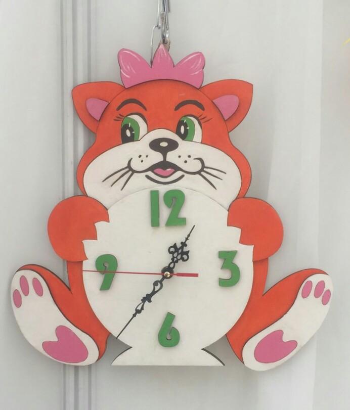 Clock With Cat Laser Cut Template File Free CDR Vectors Art