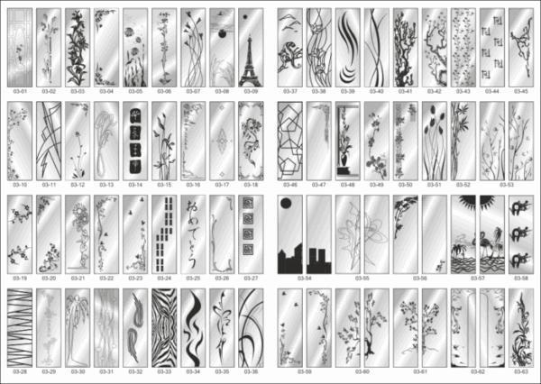 Custom Glass Sandblasting Designs Collection File Free CDR Vectors Art