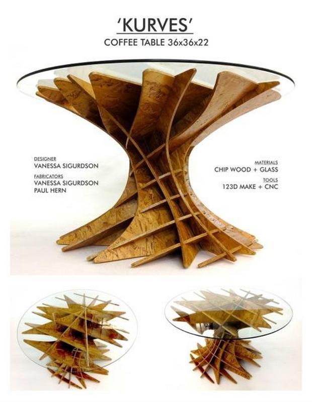 Kurves Coffee Table Laser Cut File Free CDR Vectors Art