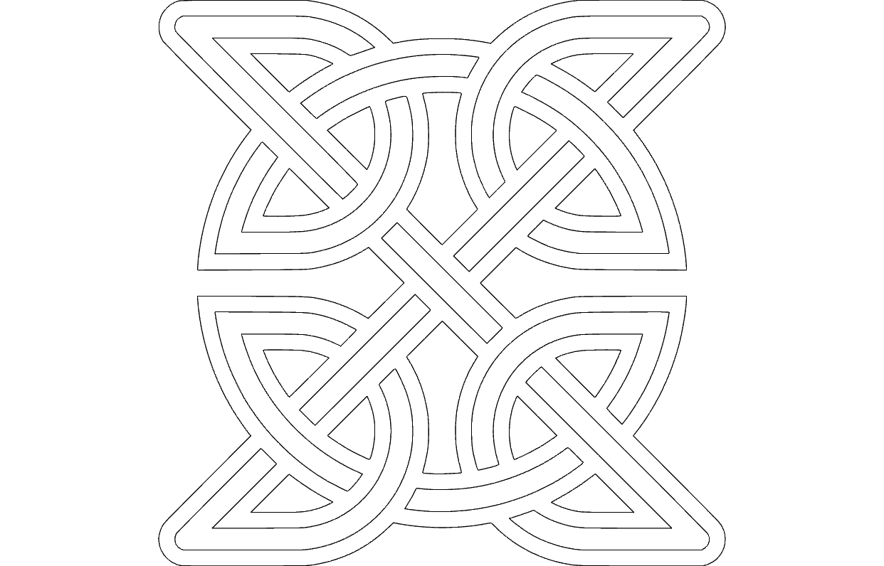 Celtic Knot Round Inside Square Free DXF File