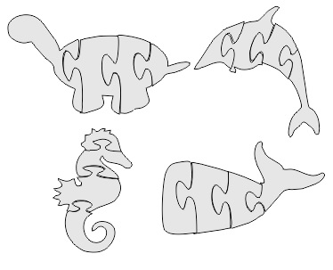 Dolphin Jigsaw Puzzle Free DXF File