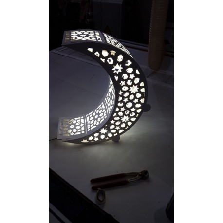 Laser Cut Crescent Moon Night Light Lamp Free DXF File