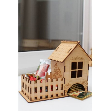 Laser Cut Tea House Candy Tea Bags Sugar Storage Free DXF File