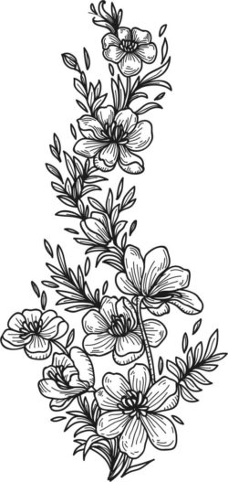 Black And White Flowers For Print Or Laser Engraving Machines Free DXF File