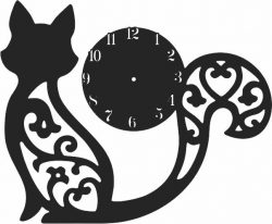 Clock With Engraved Cat For Laser Cut Cnc Free DXF File