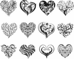 Decorative Heart Motifs For Print Or Laser Engraving Machines Free DXF File
