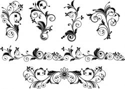 Flowers With Leaves For Print Or Laser Engraving Machines Free DXF File