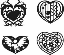Heart Set February 14 For Laser Cut Free DXF File