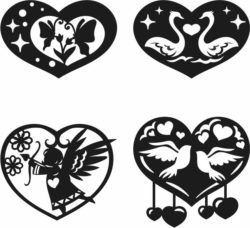 Heart valentine's Day For Laser Cut Plasma Free DXF File